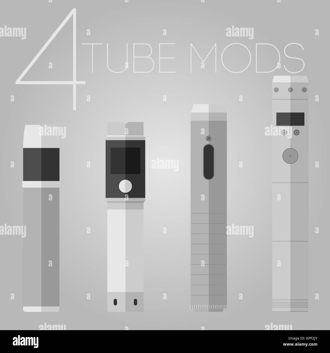 4 mechanical mods icons set - Stock Image