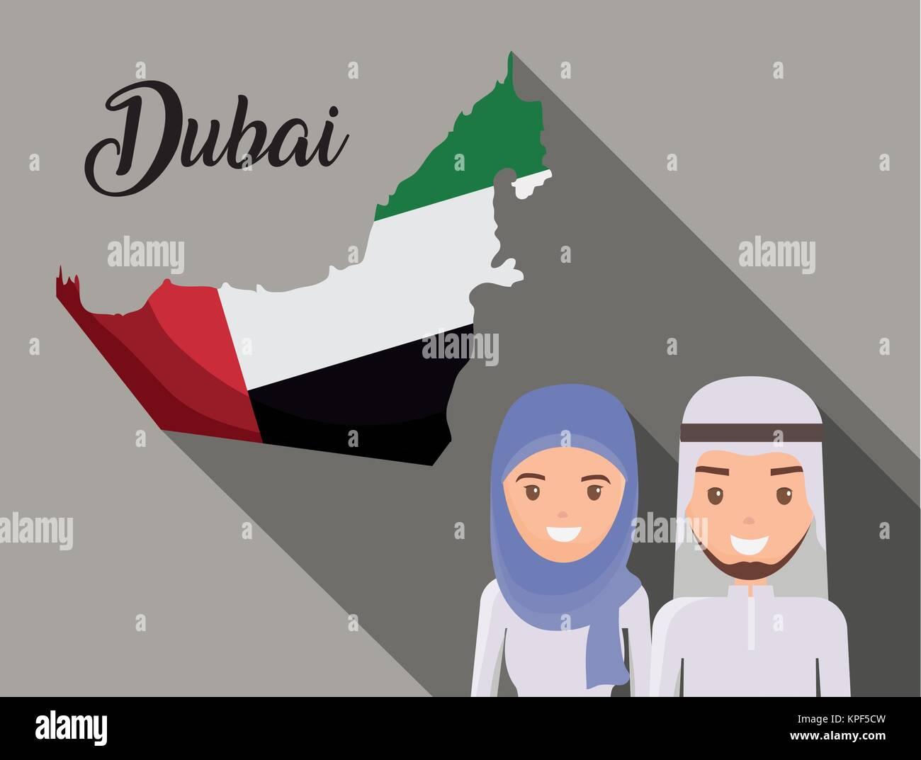 map of united arab emirates cartoon - Stock Image