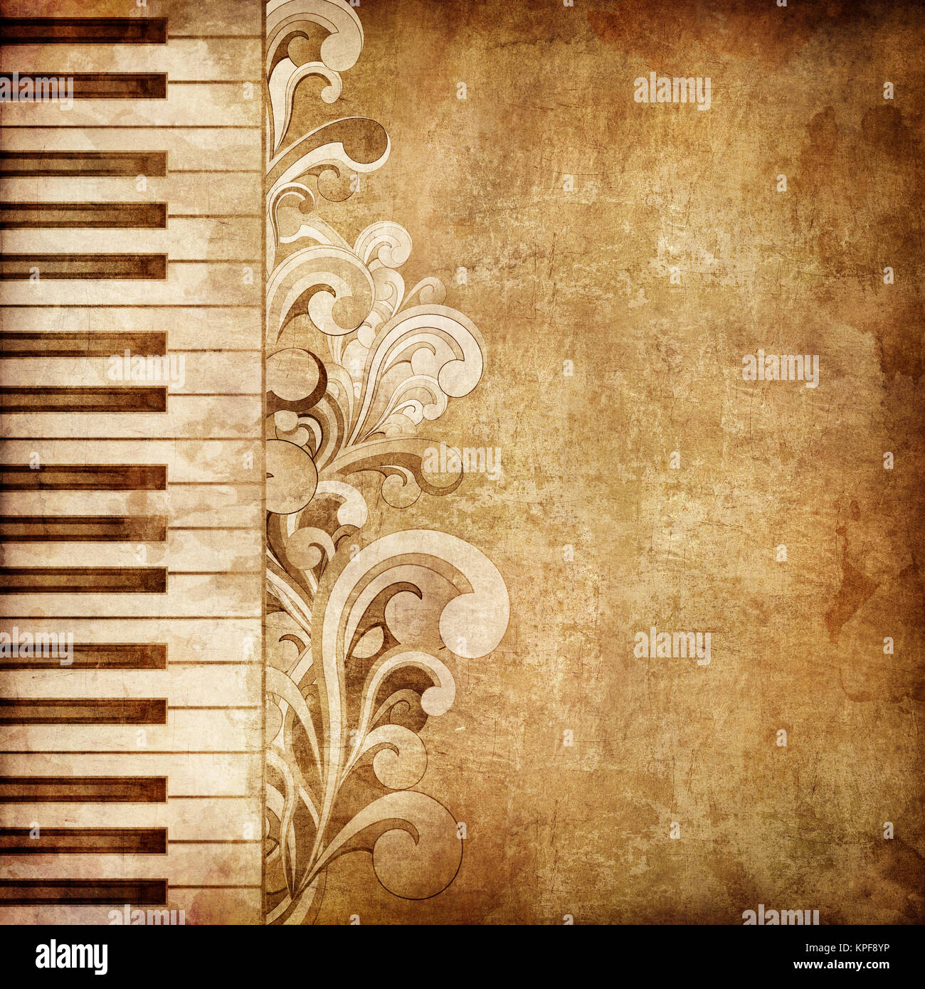 Blank Piano Sheet Music For All My Fellow Piano Lovers: Old Paper. Retro Music Texture Background. Vector Stock