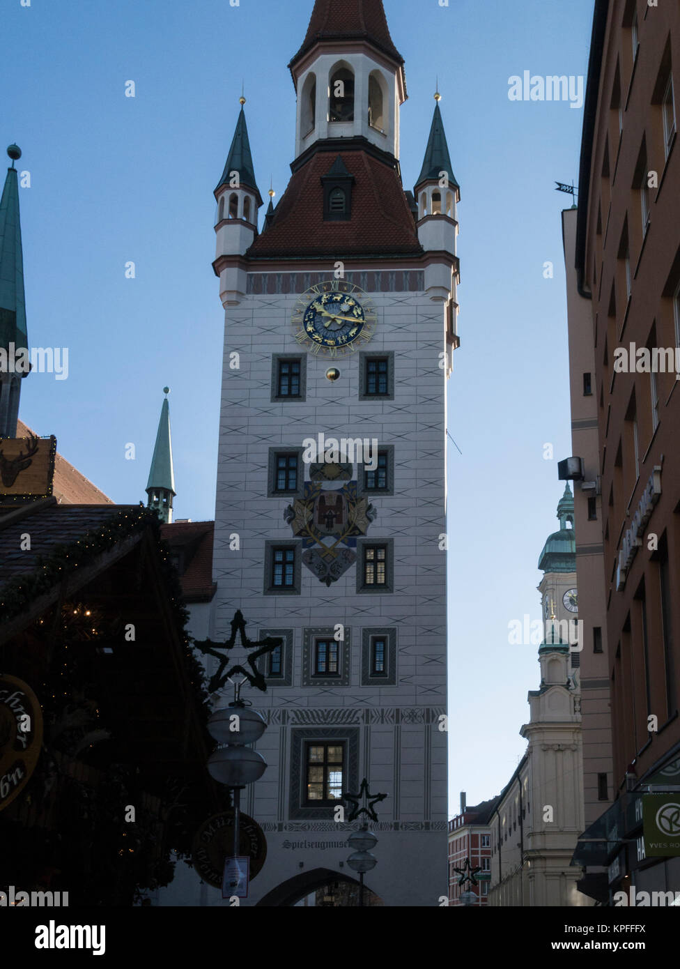 Spielzeugmuseum in south tower of  Altes Rathaus 1474 Toy Museum Marienplatz Munich Bavaria Germany EU - Stock Image