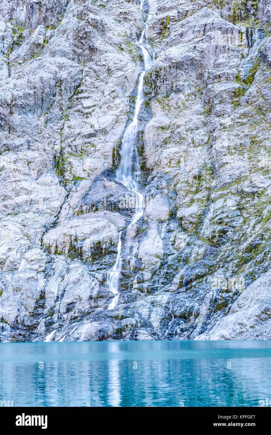 Patagonia landscape scene at lake at glacier at queulat national park, aysen, chile - Stock Image