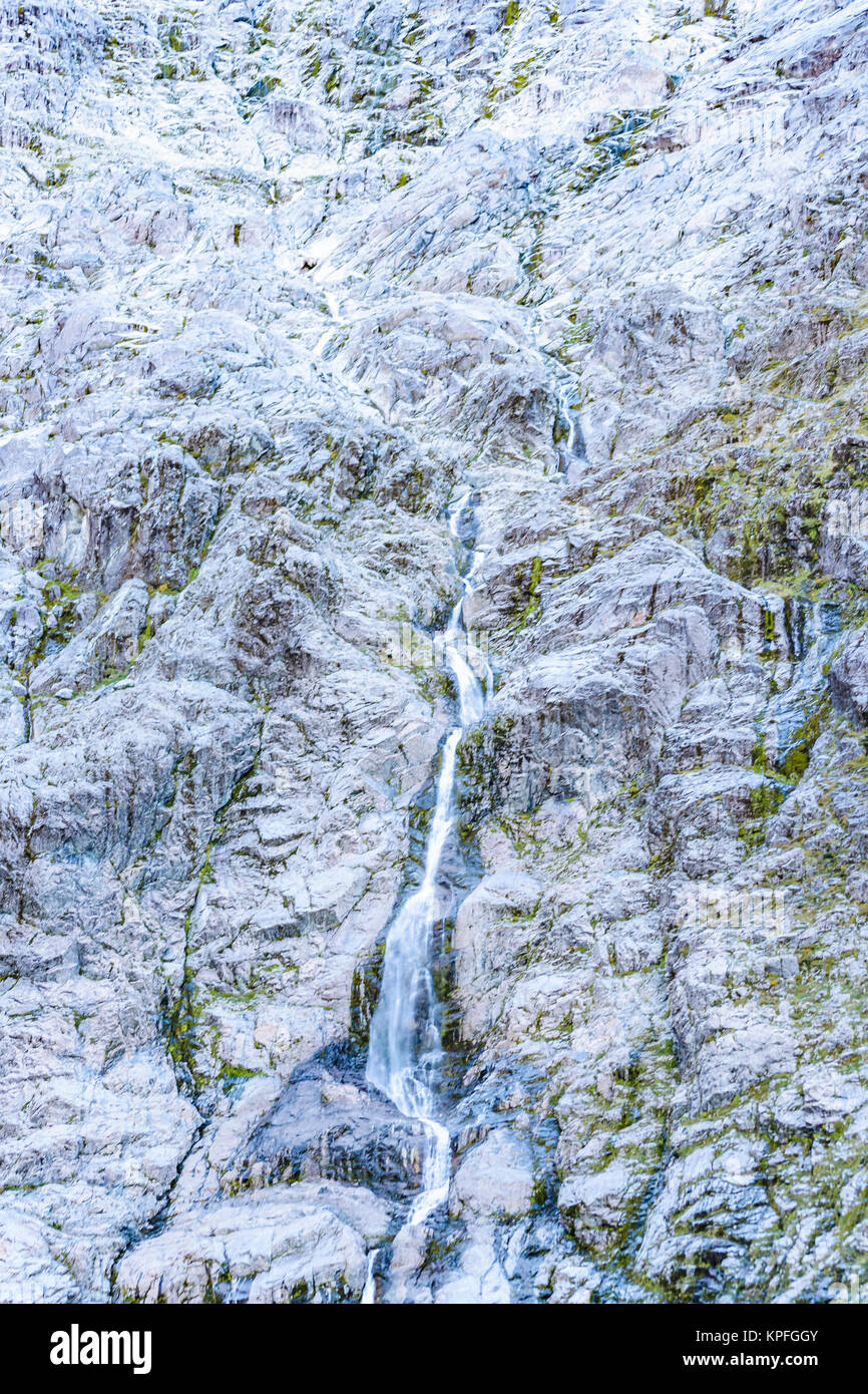Patagonia landscape scene at glacier detail cascade in queulat national park, aysen, chile - Stock Image