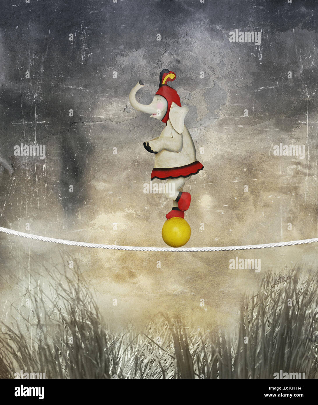 Illustrative funny female elephant dressed circus balancing on a rope and ball like an acrobat in a surreal landscape - Stock Image