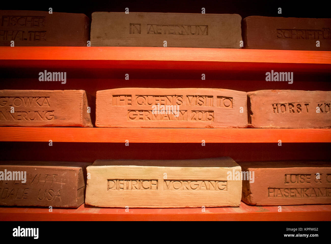 A brick inscribed for the Queen's sate visit to Germany and the Garrison Church, Potsdam. - Stock Image
