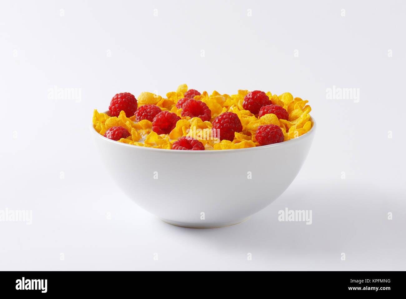 cornflakes and raspberries - Stock Image