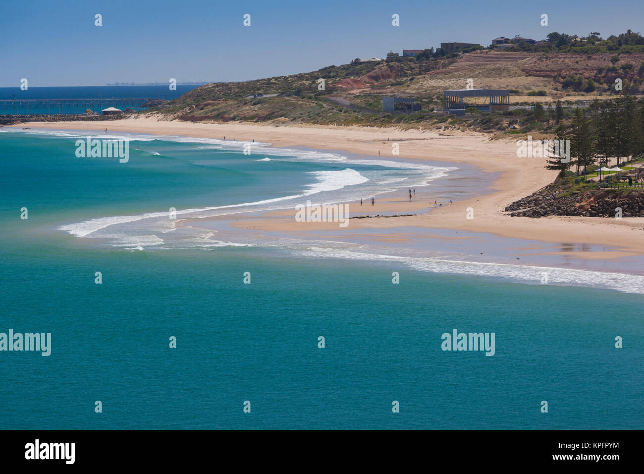 Australia, Fleurieu Peninsula, Christie's Beach, elevated beach view - Stock Image
