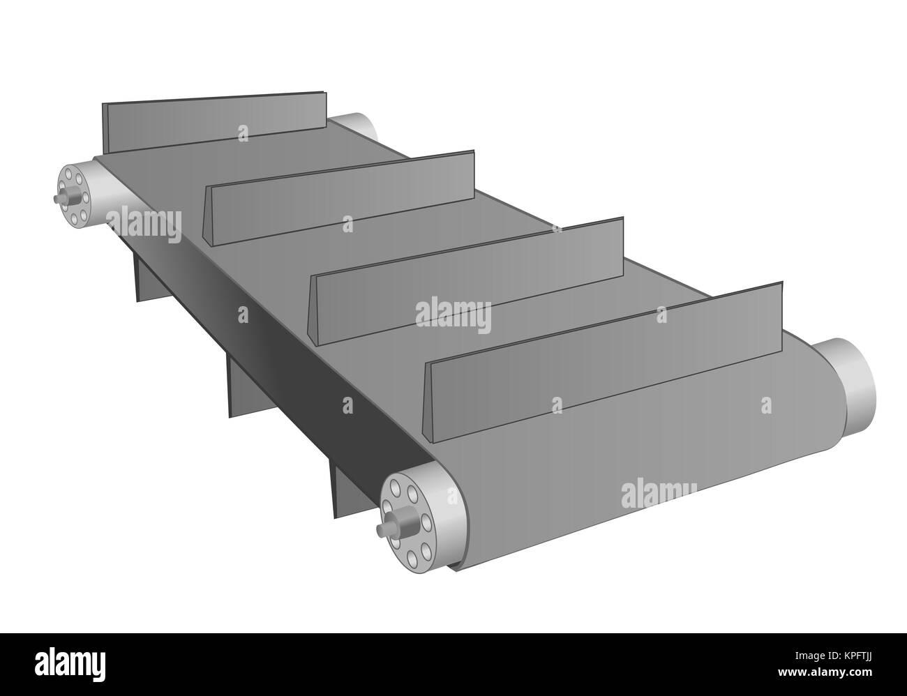 conveyor belt on white - Stock Image