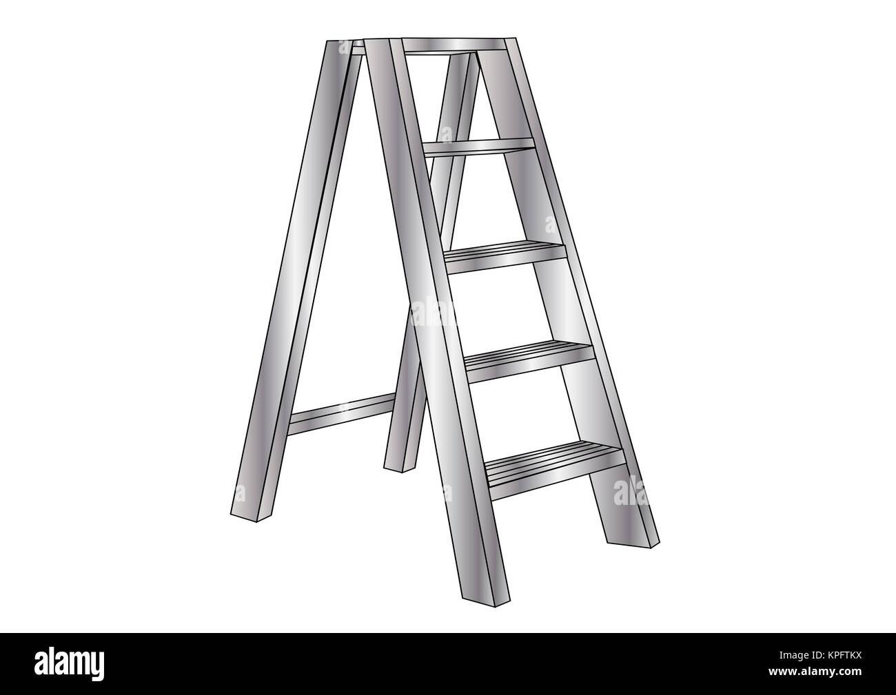 metallic ladder - Stock Image