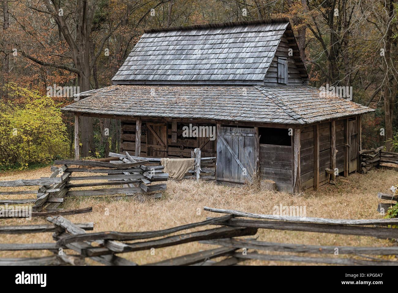 Historic backcountry farm house, Gastonia, North Carolina, USA. - Stock Image