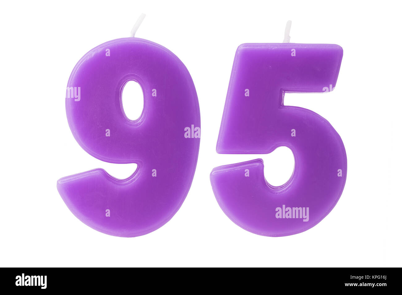 95th birthday candles isolated - Stock Image