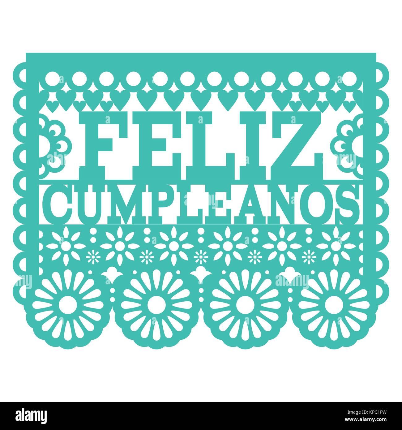 Feliz Cumpleanos Papel Picado Vector Design Mexican Folk Art Happy