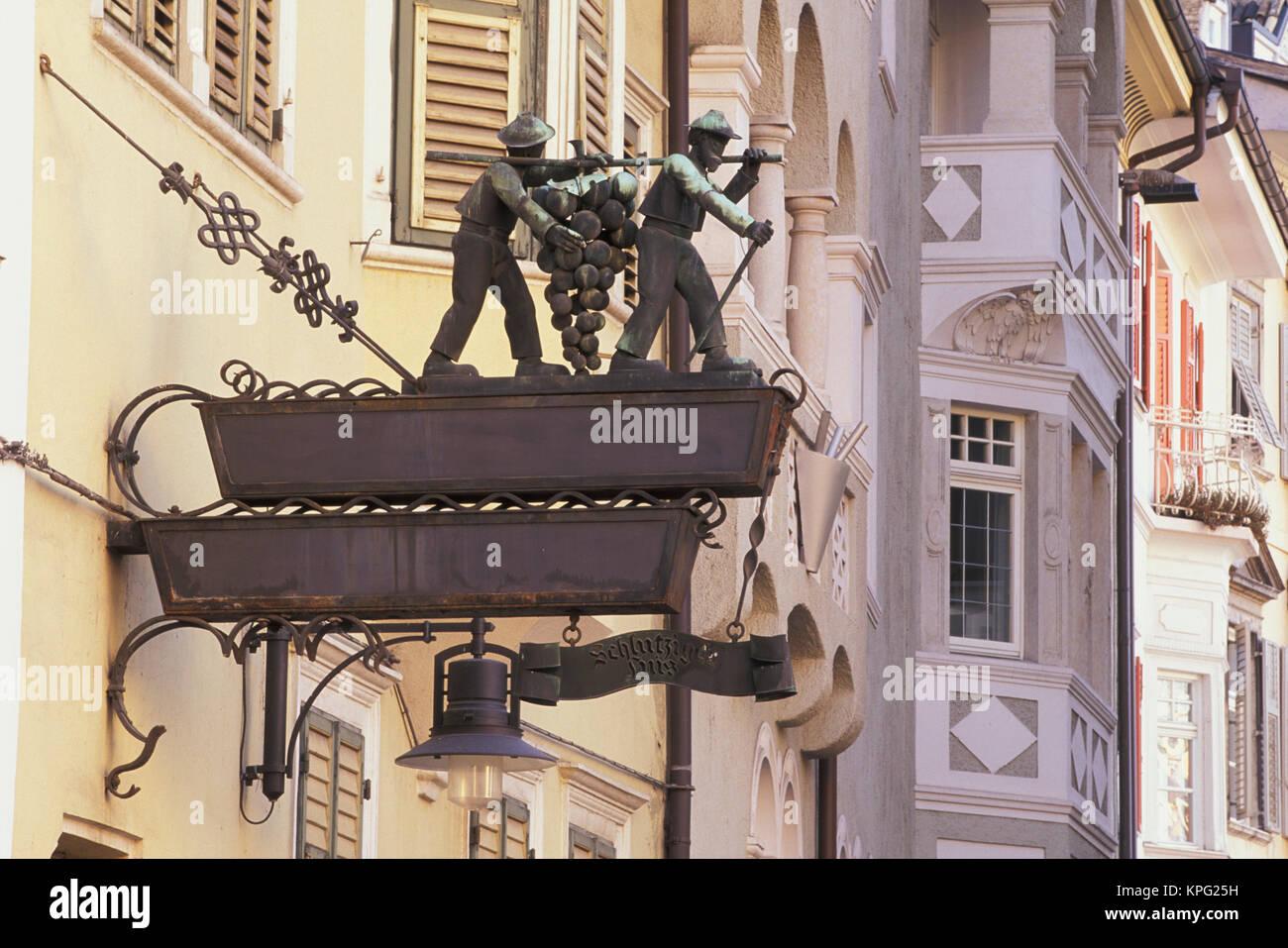 Italy, Bolzano. Traditional hand crafted sign - Stock Image