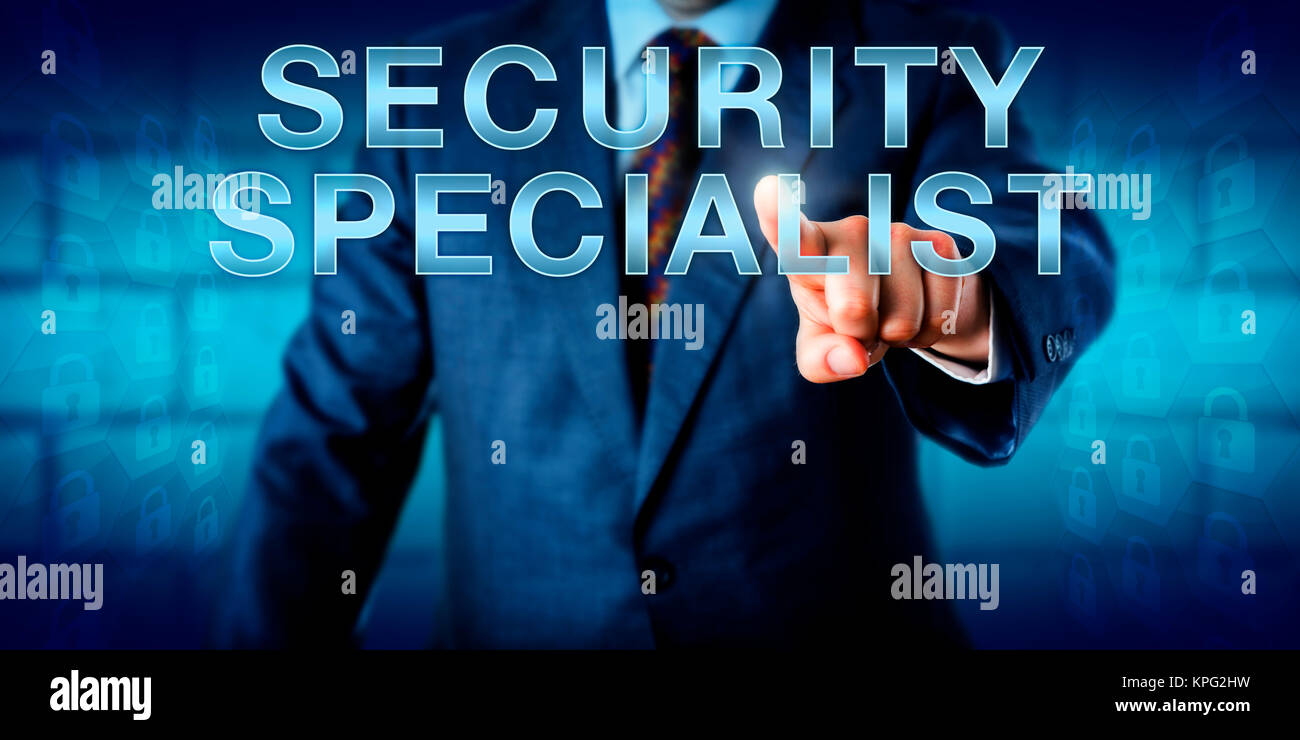 Corporate Manager Touching SECURITY SPECIALIST - Stock Image