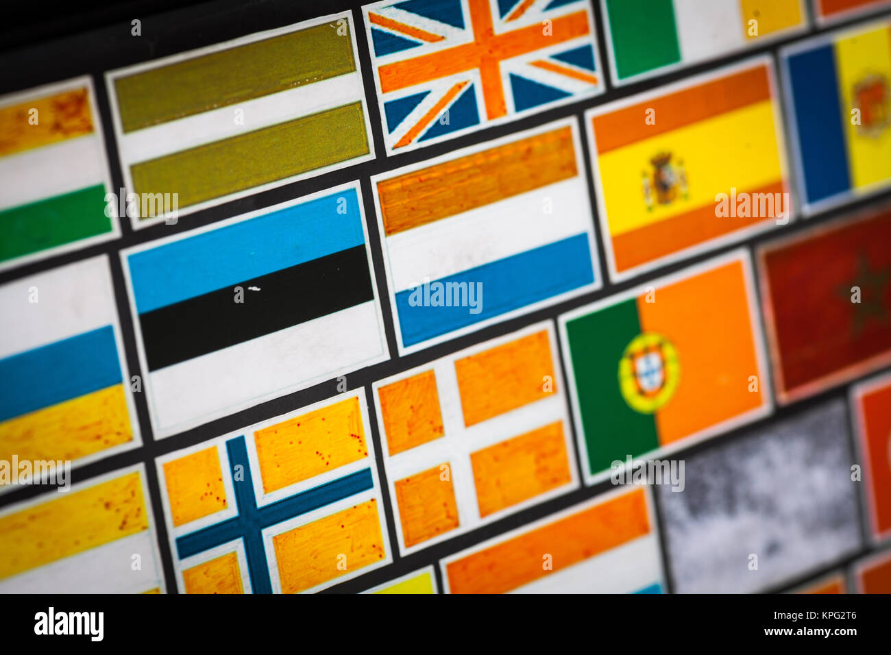 Country flag stickers - Stock Image