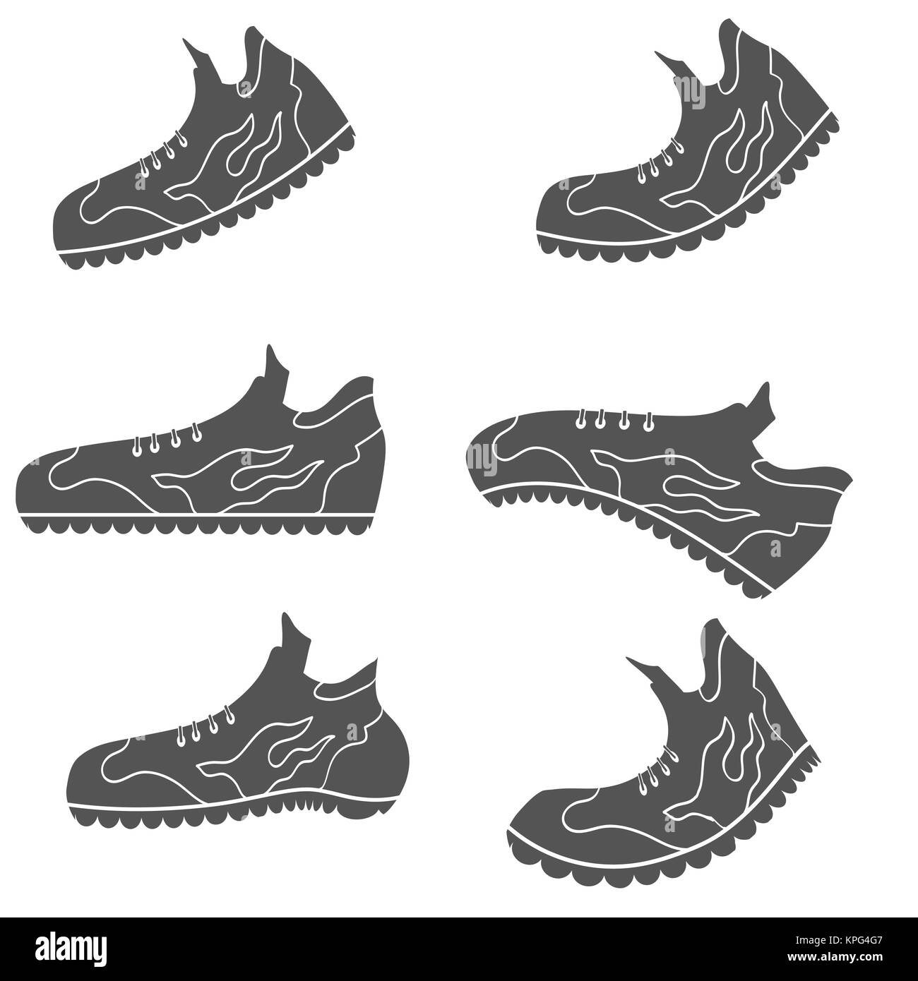 Set of Gray Sport Shoe Icons Stock Photo