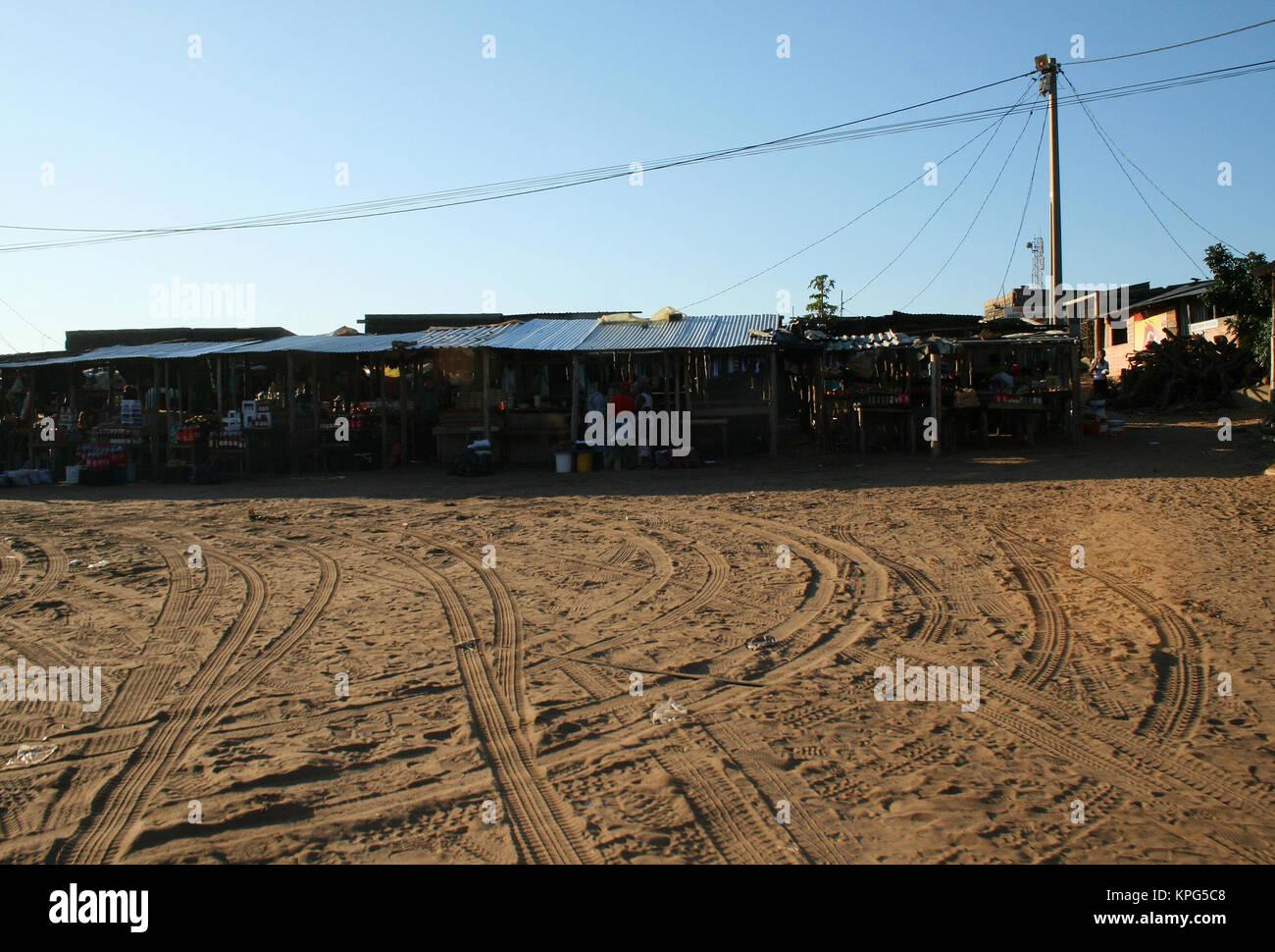 Mozambique, flea market, at dusk in Ponta Do Ouro - Stock Image