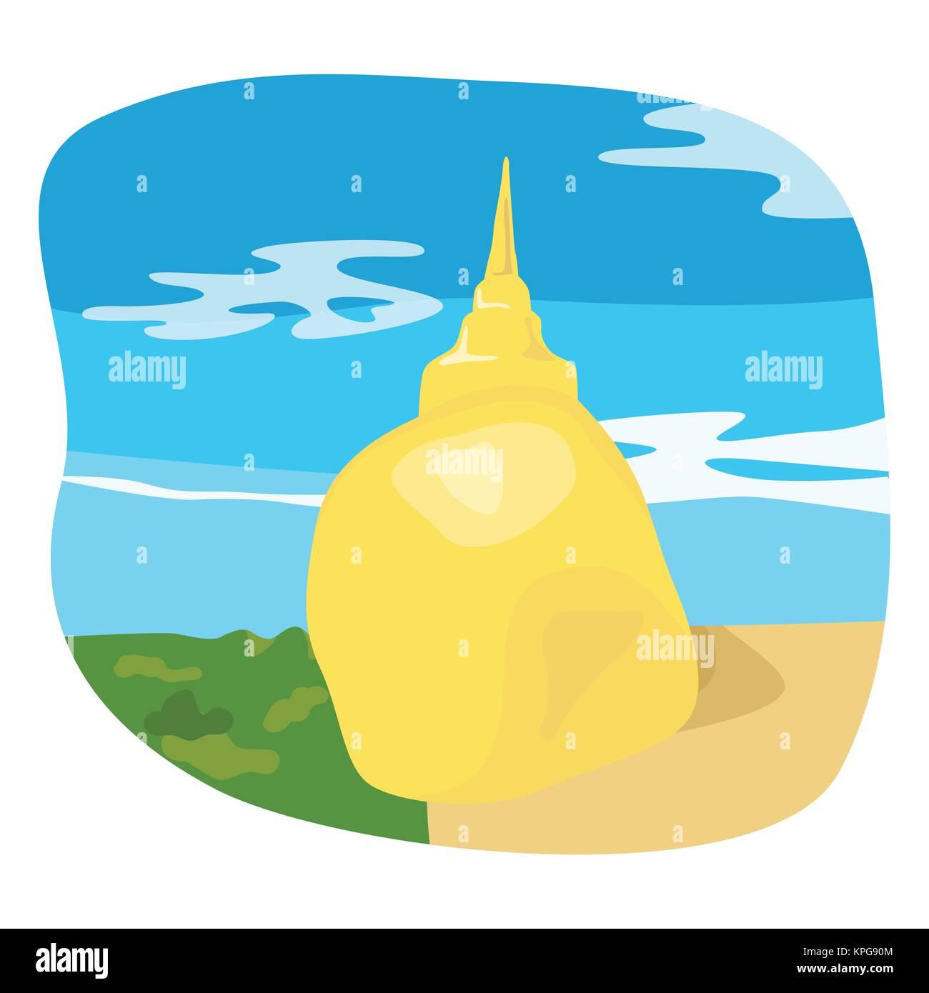 Golden rock of Kyaiktiyo, Myanmar - Stock Vector