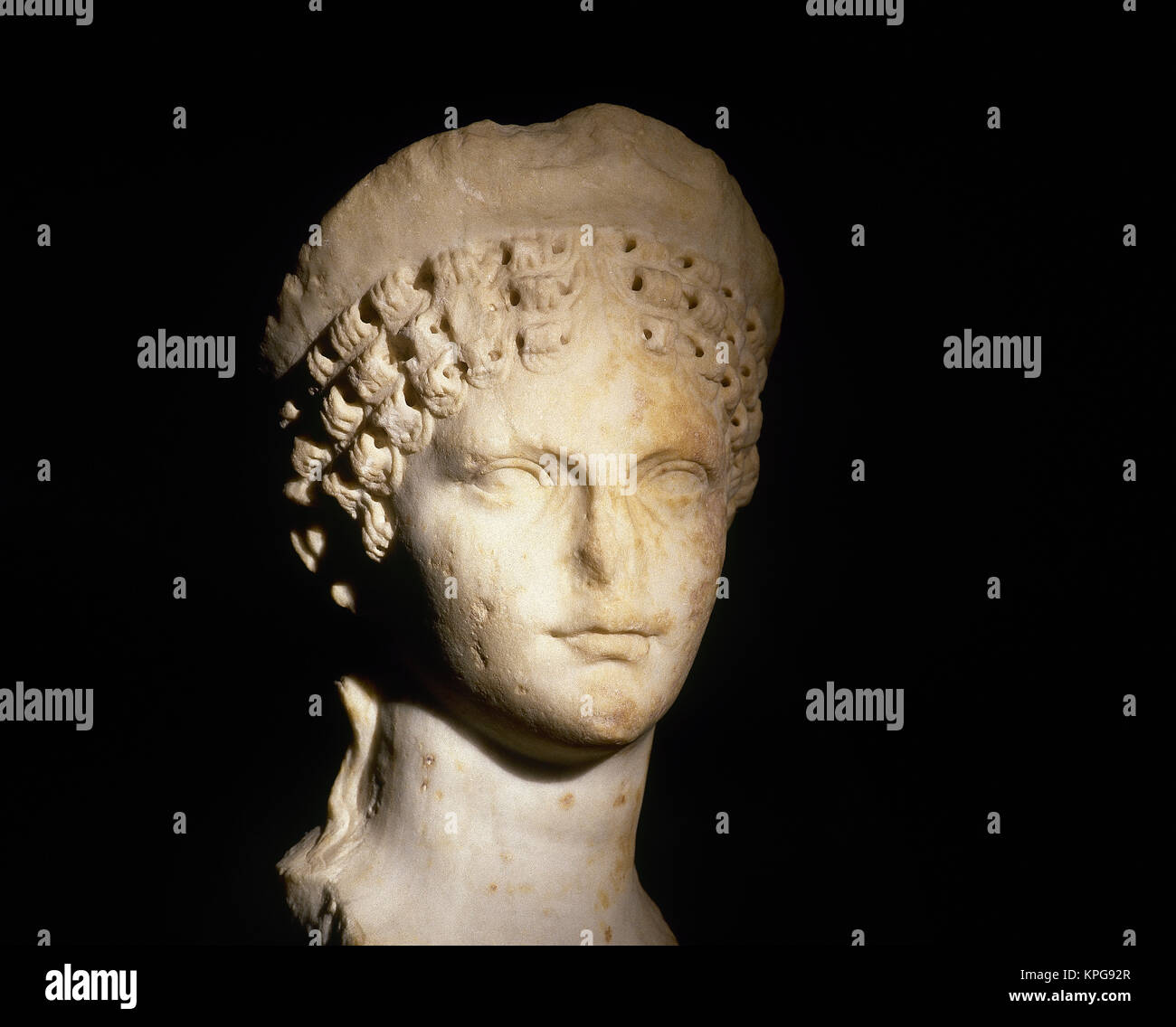 Agrippina the Younger (15-49 AD). Roman empress consort. Julio-Clauidian dynasty. Wife of Claudius. Bust. 1st century. - Stock Image