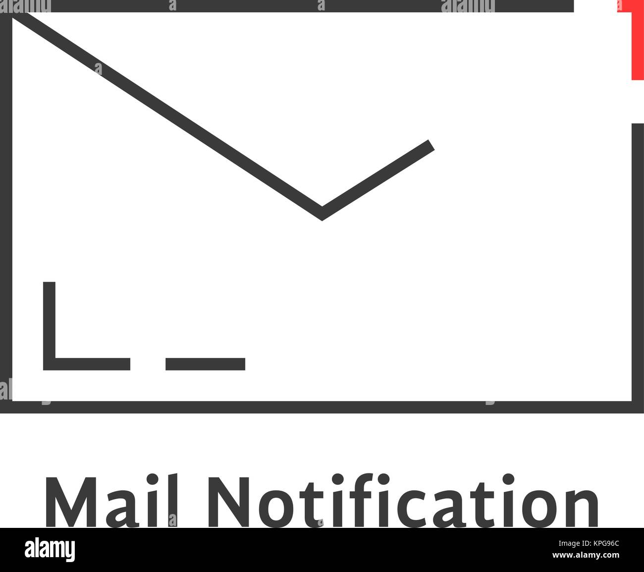 black mail notification icon - Stock Image