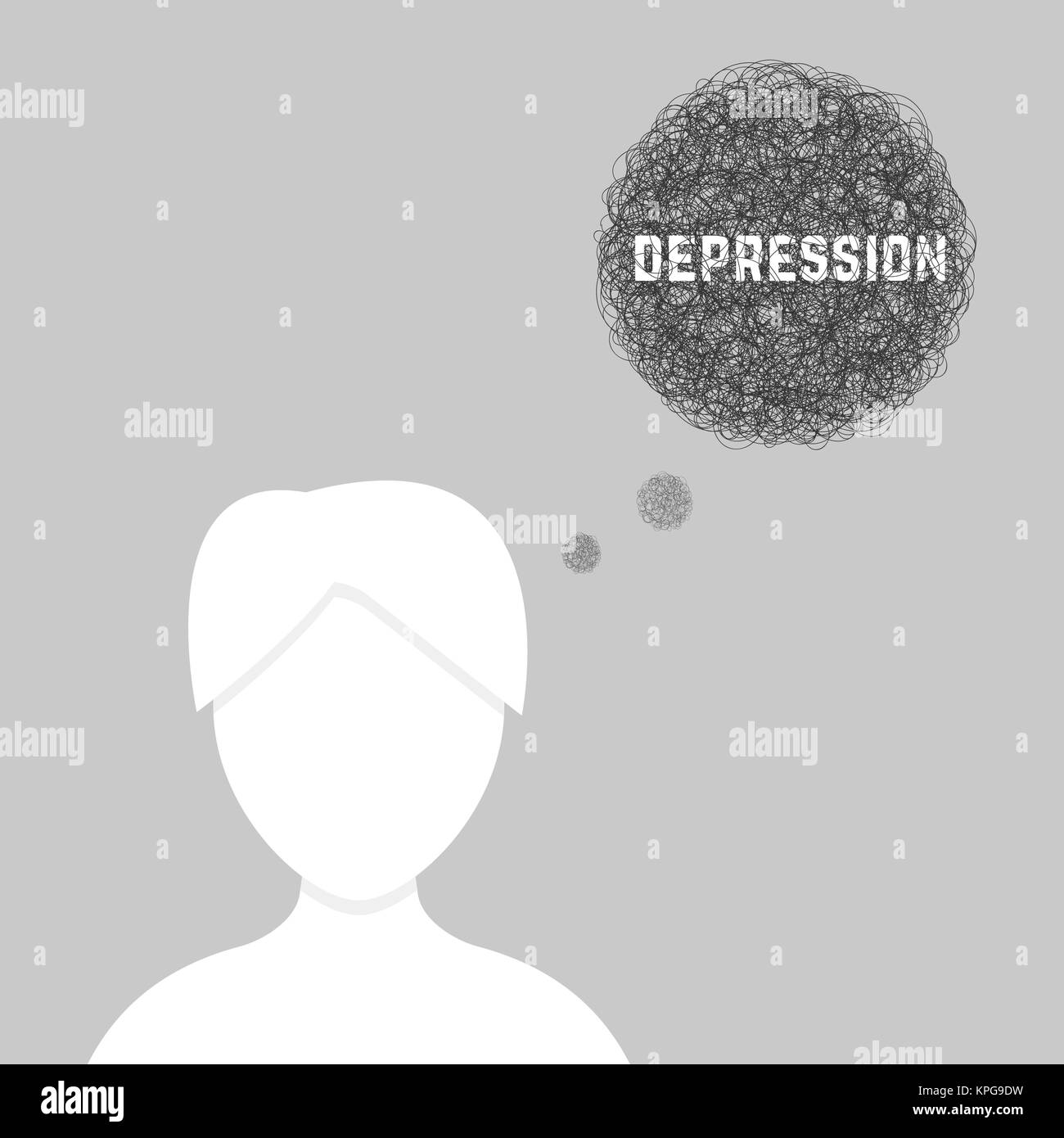 silhouette of woman in depression - Stock Image