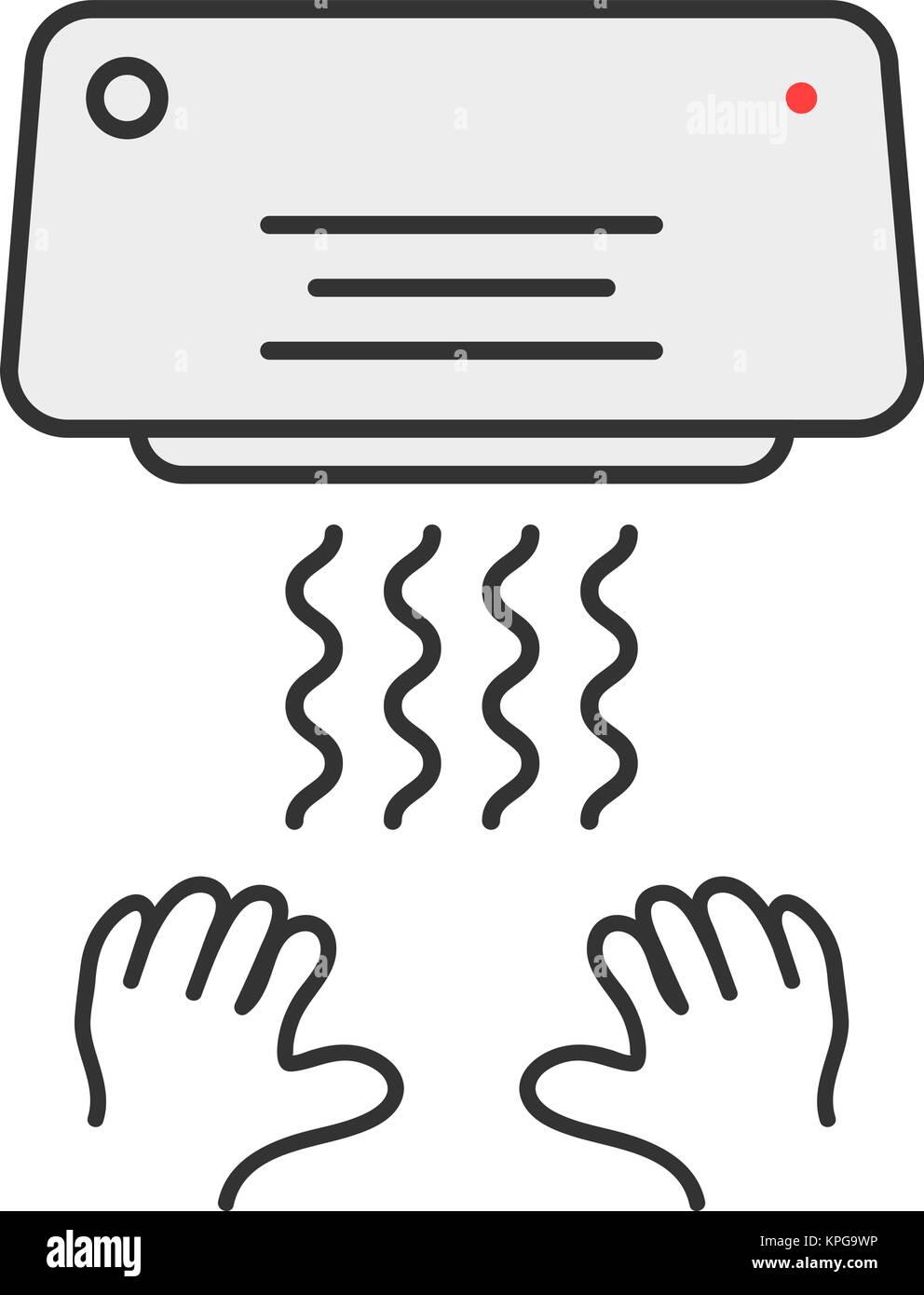 simple thin line hand dryer emblem - Stock Vector