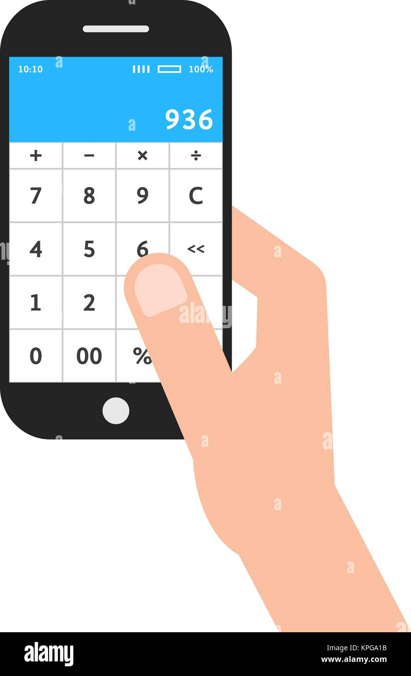 hand holding phone with calculator app - Stock Vector