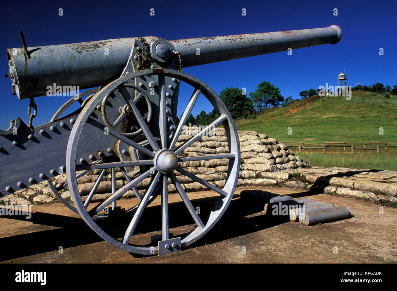 Africa, South Africa, Mpumalanga, Long Tom Pass. Cannon from the Anglo Boer War - Stock Image