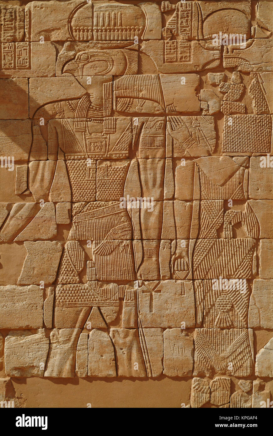 Sudan, North (Nubia), Bas-relief of Horus in Kom Ombo Temple - Stock Image
