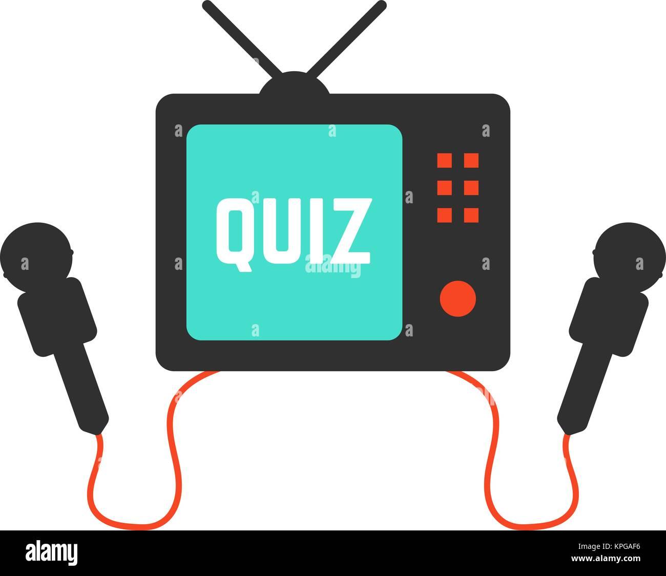 quiz on tv icon - Stock Vector
