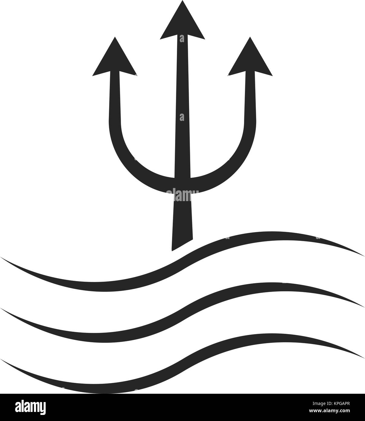black trident icon with waves - Stock Vector