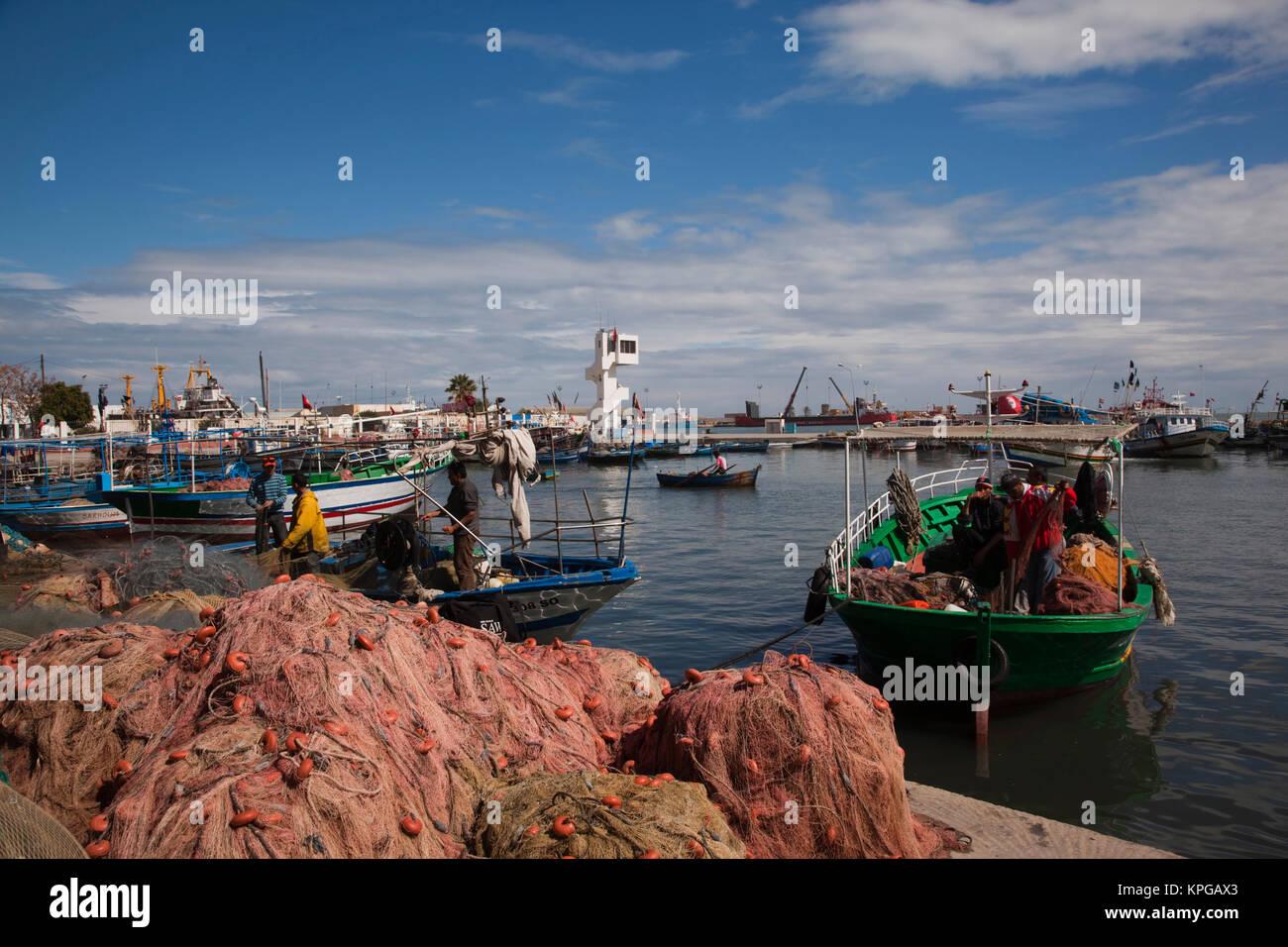Tunisia, Tunisian Central Coast, Sousse, port, fishing boats Stock Photo