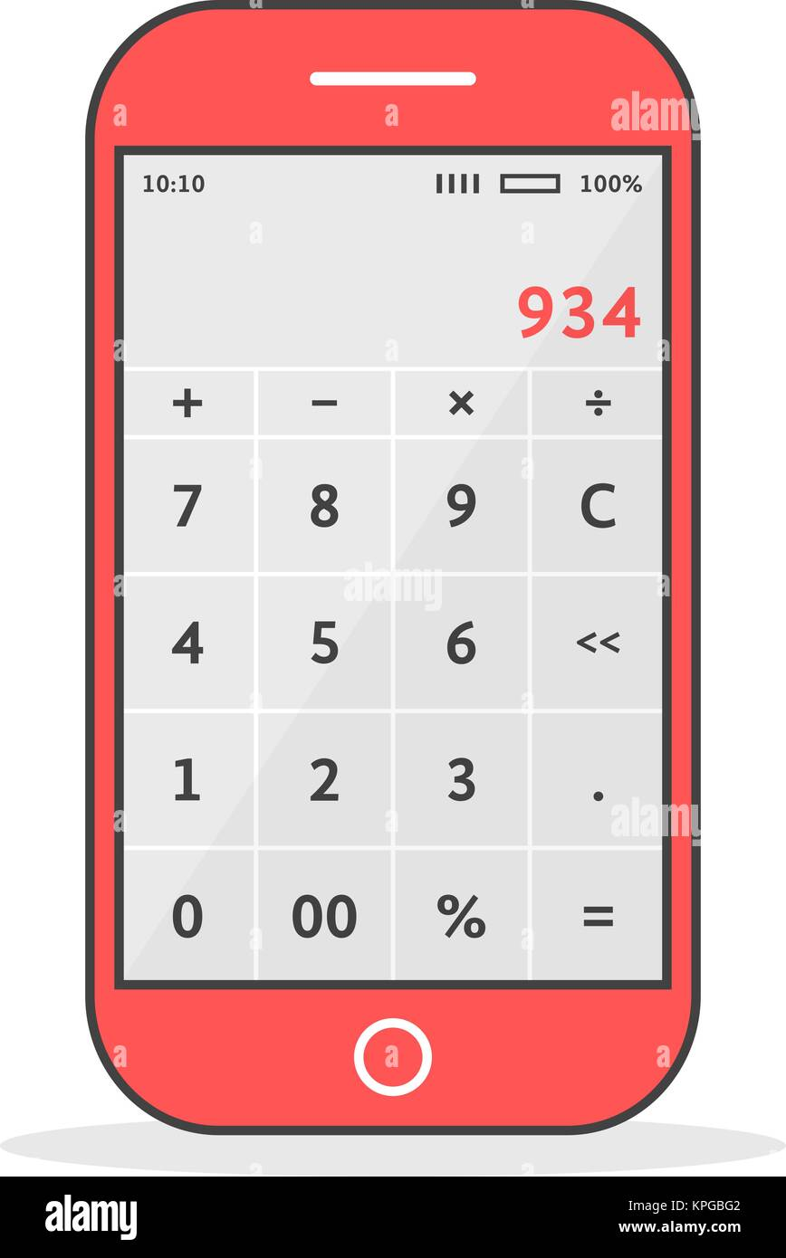 red phone with calculator app - Stock Vector