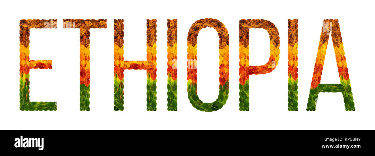 word ethiopia country is written with leaves on a white insulated background, a banner for printing, a creative - Stock Image