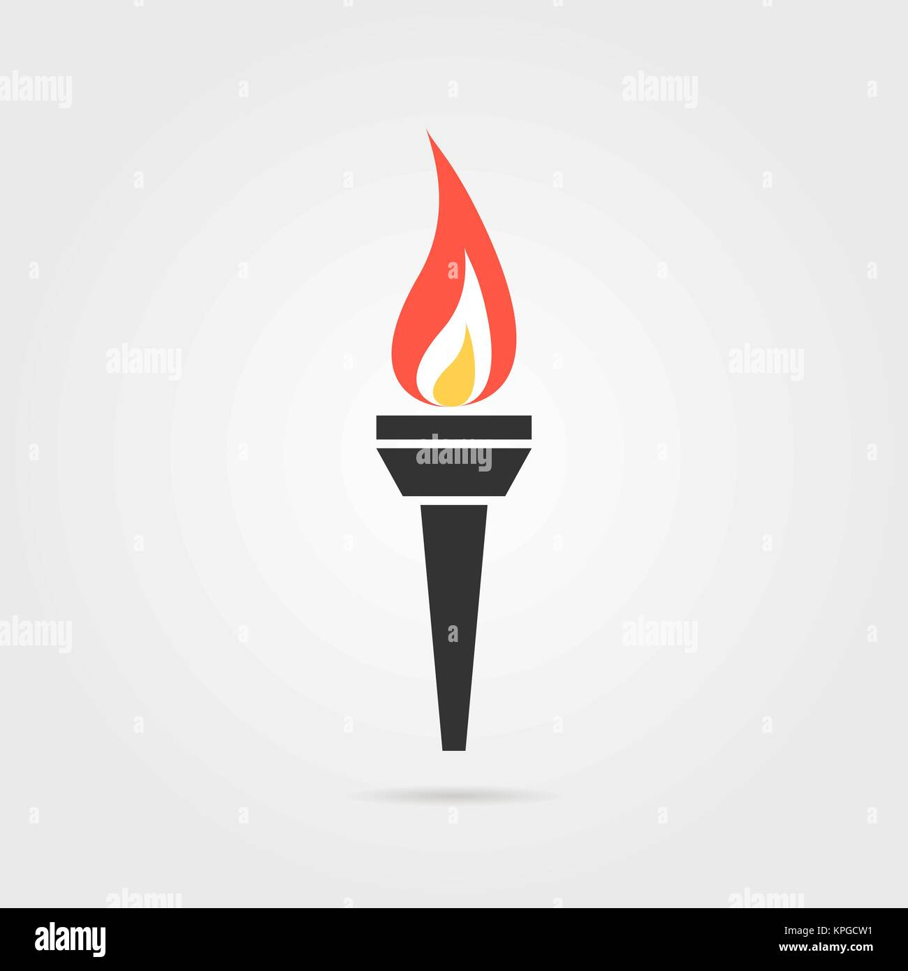 olympic flame icon with shadow - Stock Vector