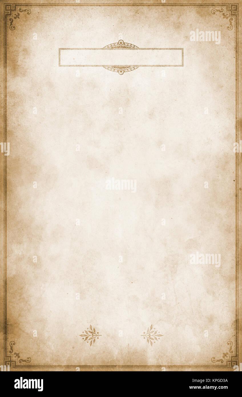 Old Grunge Paper Background With Vintage Border And Frame