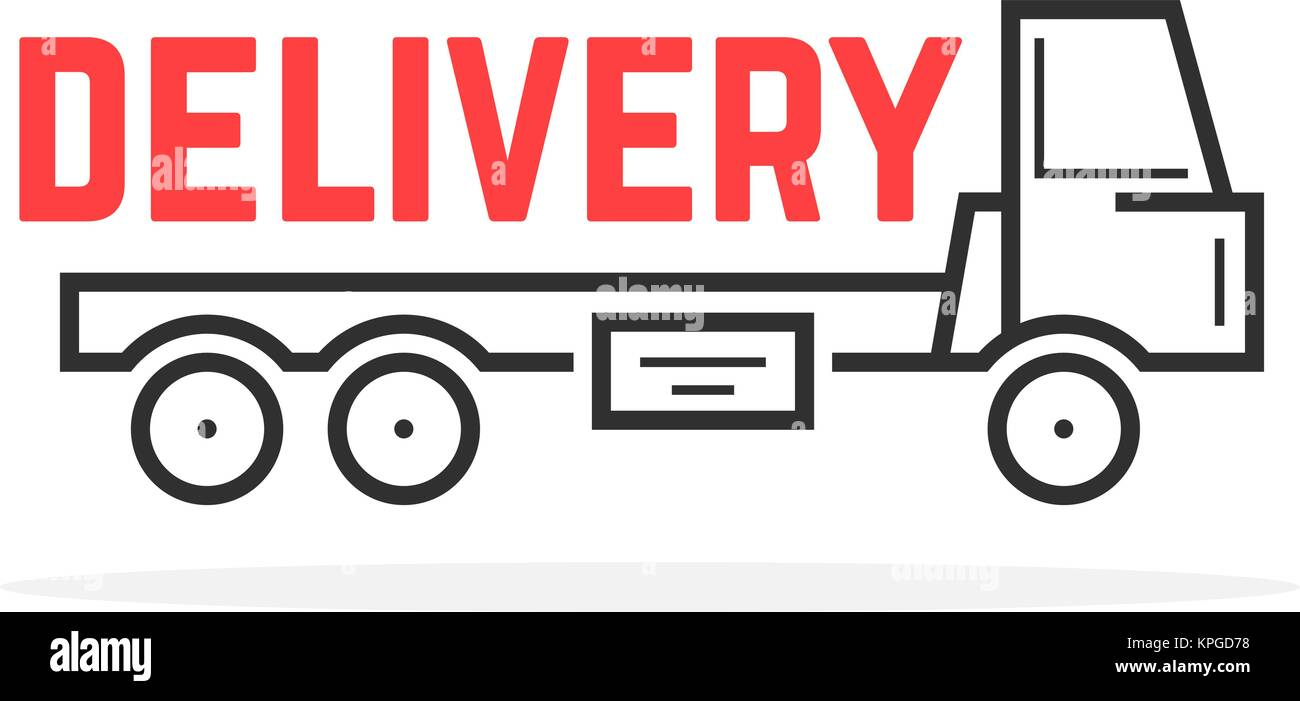 black thin line delivery truck - Stock Image