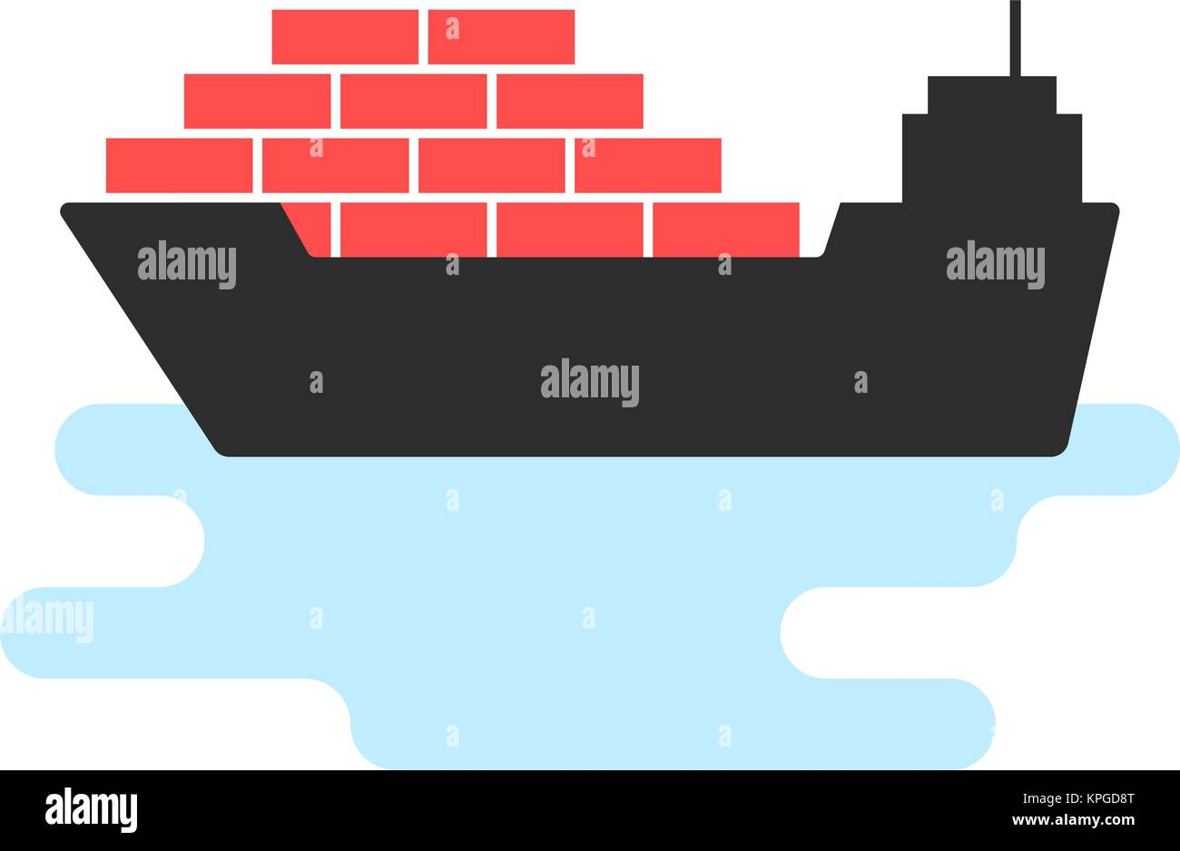 black ship icon with cargo - Stock Vector
