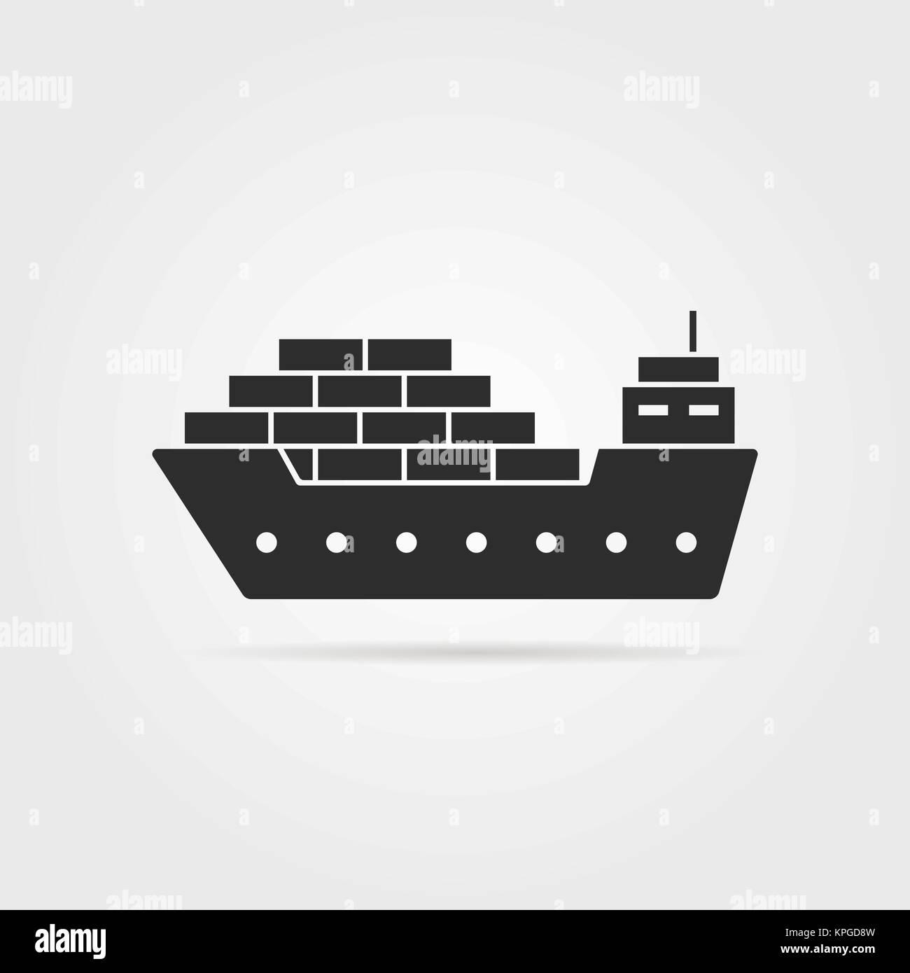 black cargo ship icon with shadow - Stock Vector