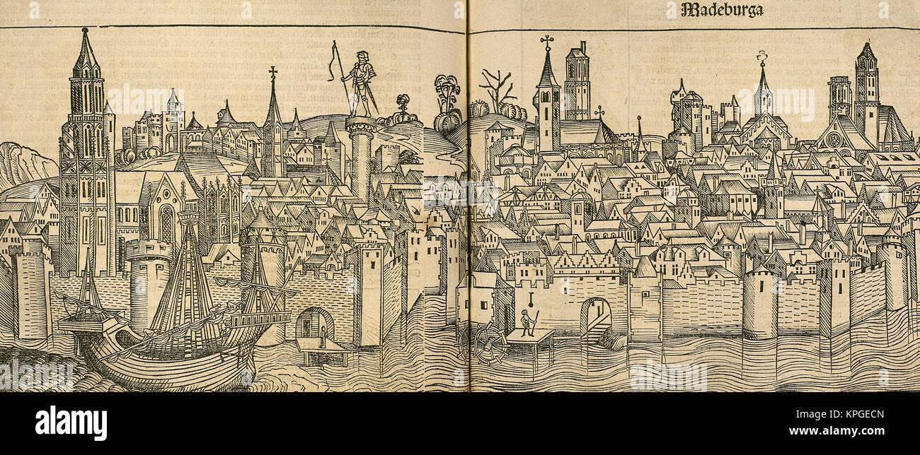 Germany. Magdeburg city. Engraving. 'Liber Chronicarum de Hartmann Schedel', 1493. - Stock Image