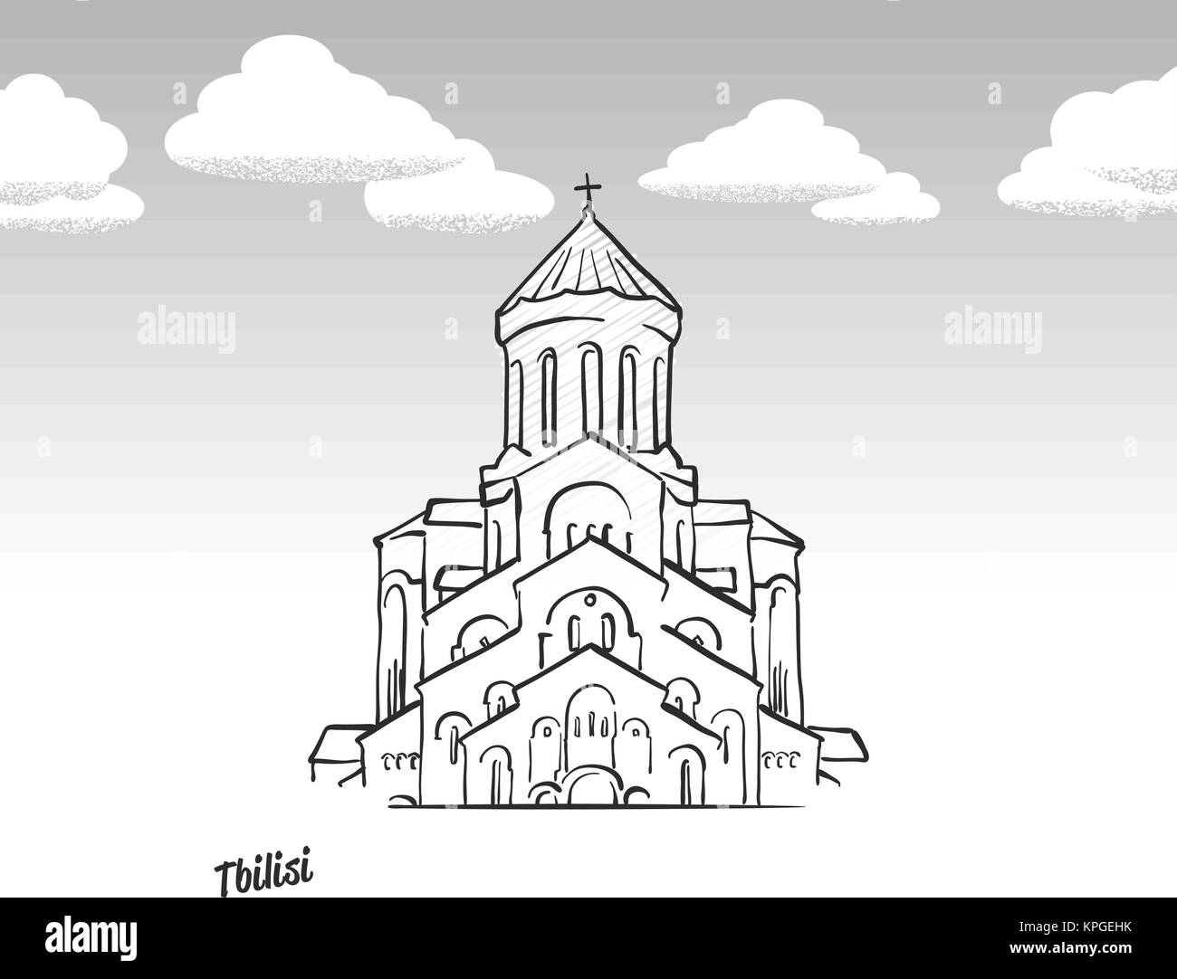Tbilisi, Georgia famous landmark sketch. Lineart drawing by hand. Greeting card icon with title, vector illustration - Stock Vector