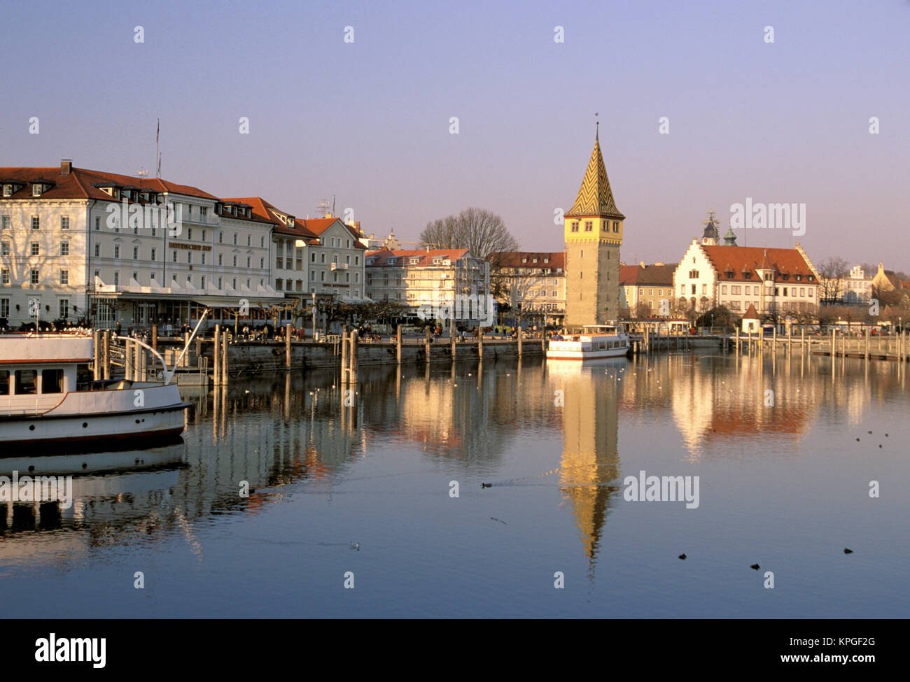 Europe Germany Bayern Bavaria Lindau Im Bodensee Harbor View