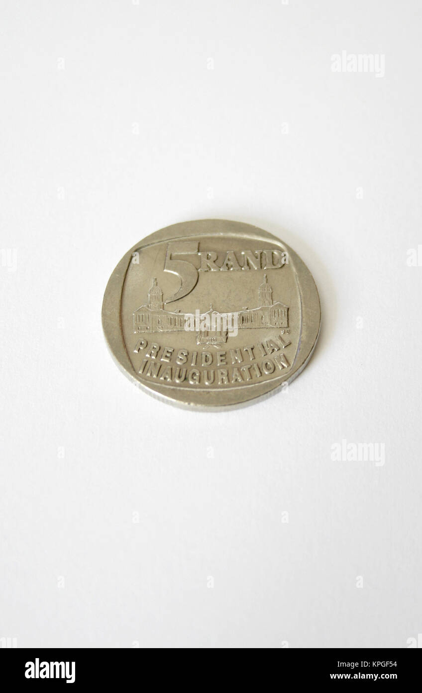 Close-up of an old Presidential Inauguration year 1994 five rand coin, South Africa - Stock Image