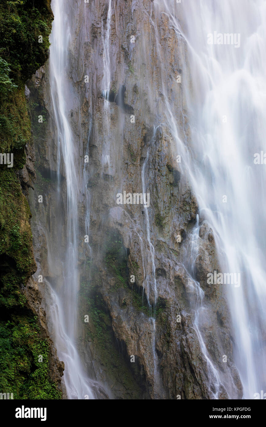 Tongling Great Falls is 188 meter (616 feet) waterfall location within the Jingxi Tongling Grand Canyon Tourism Stock Photo
