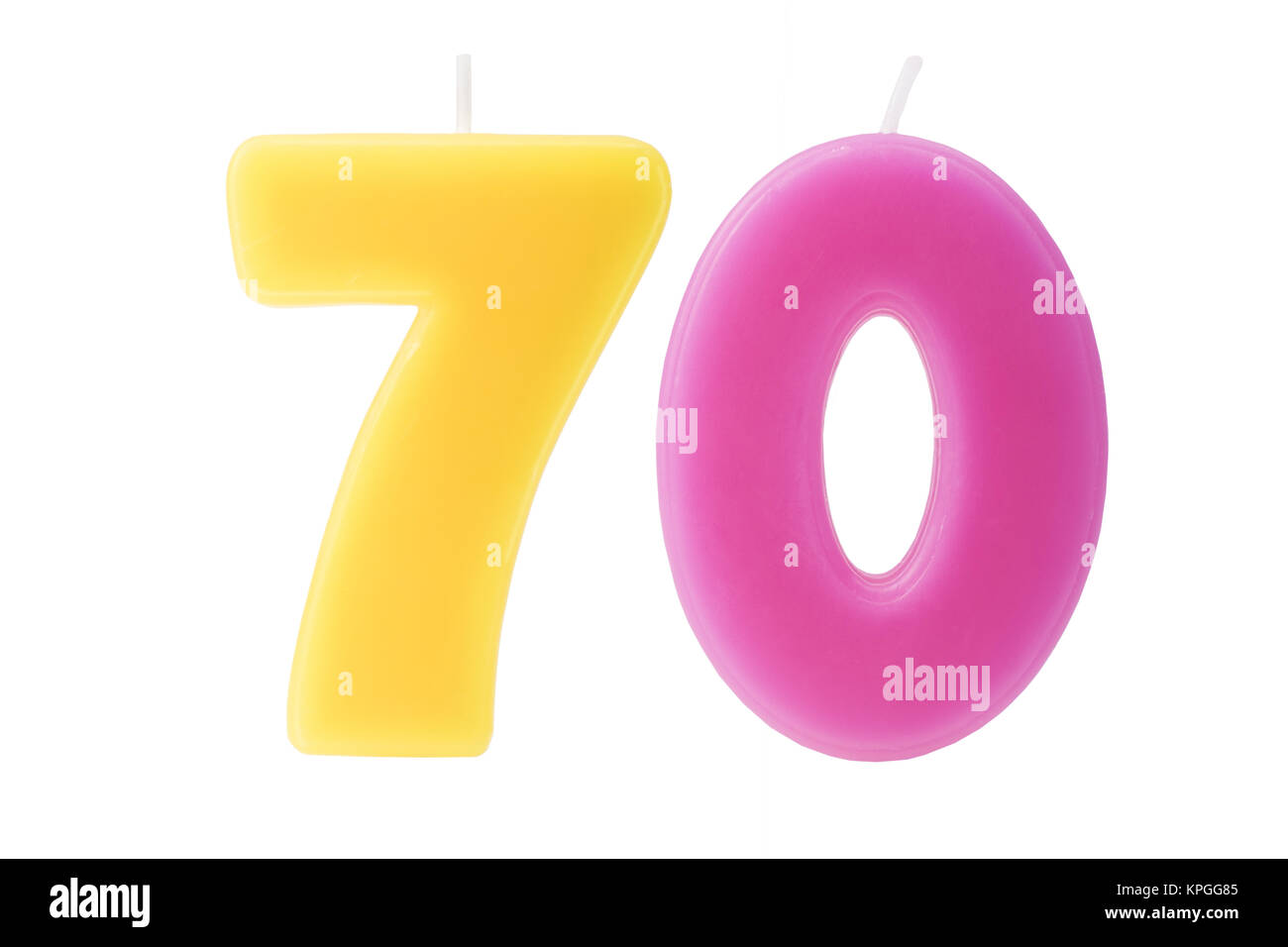 70th birthday candles isolated - Stock Image