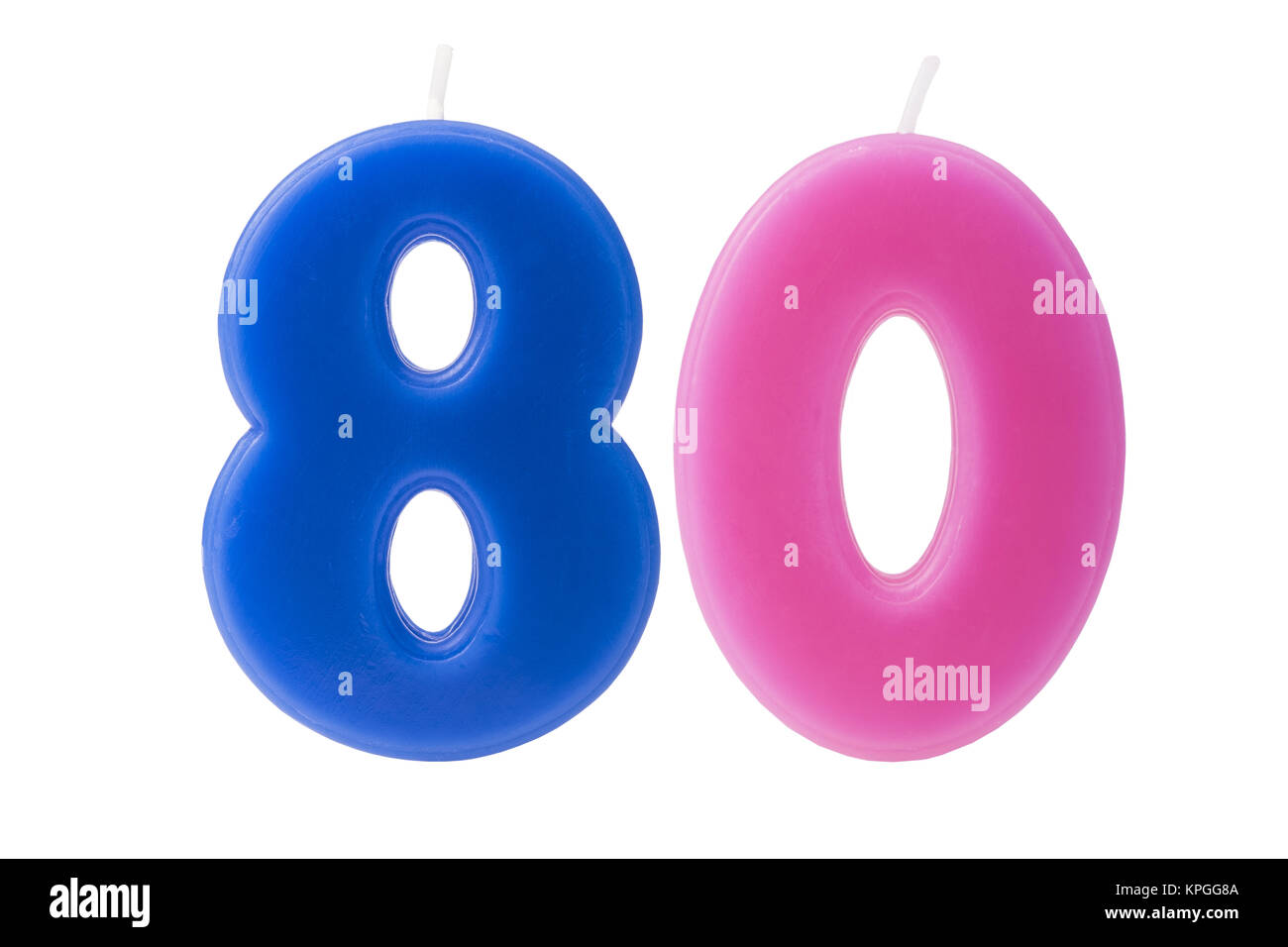 80th birthday candles isolated - Stock Image