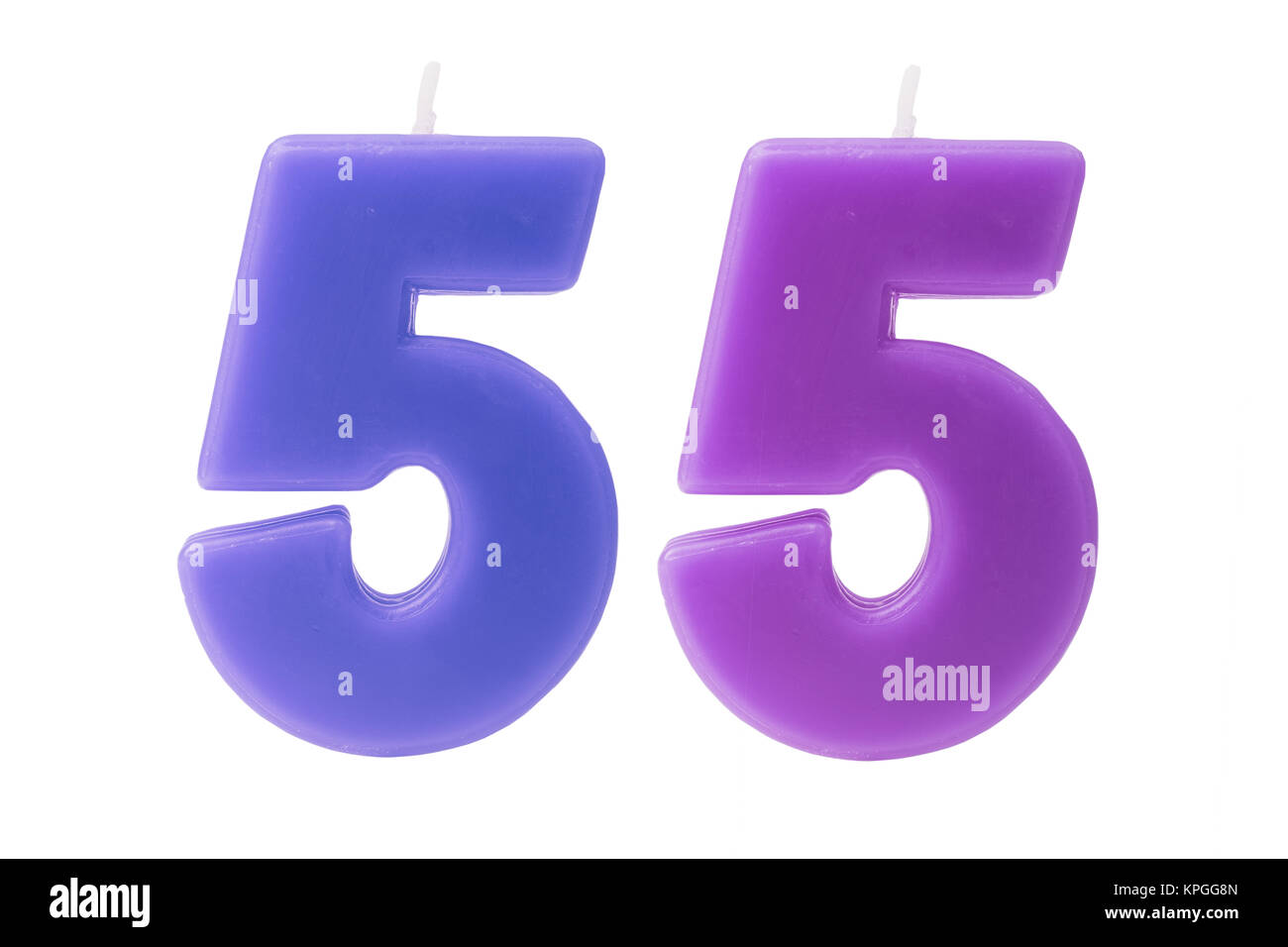 55th birthday candles isolated - Stock Image