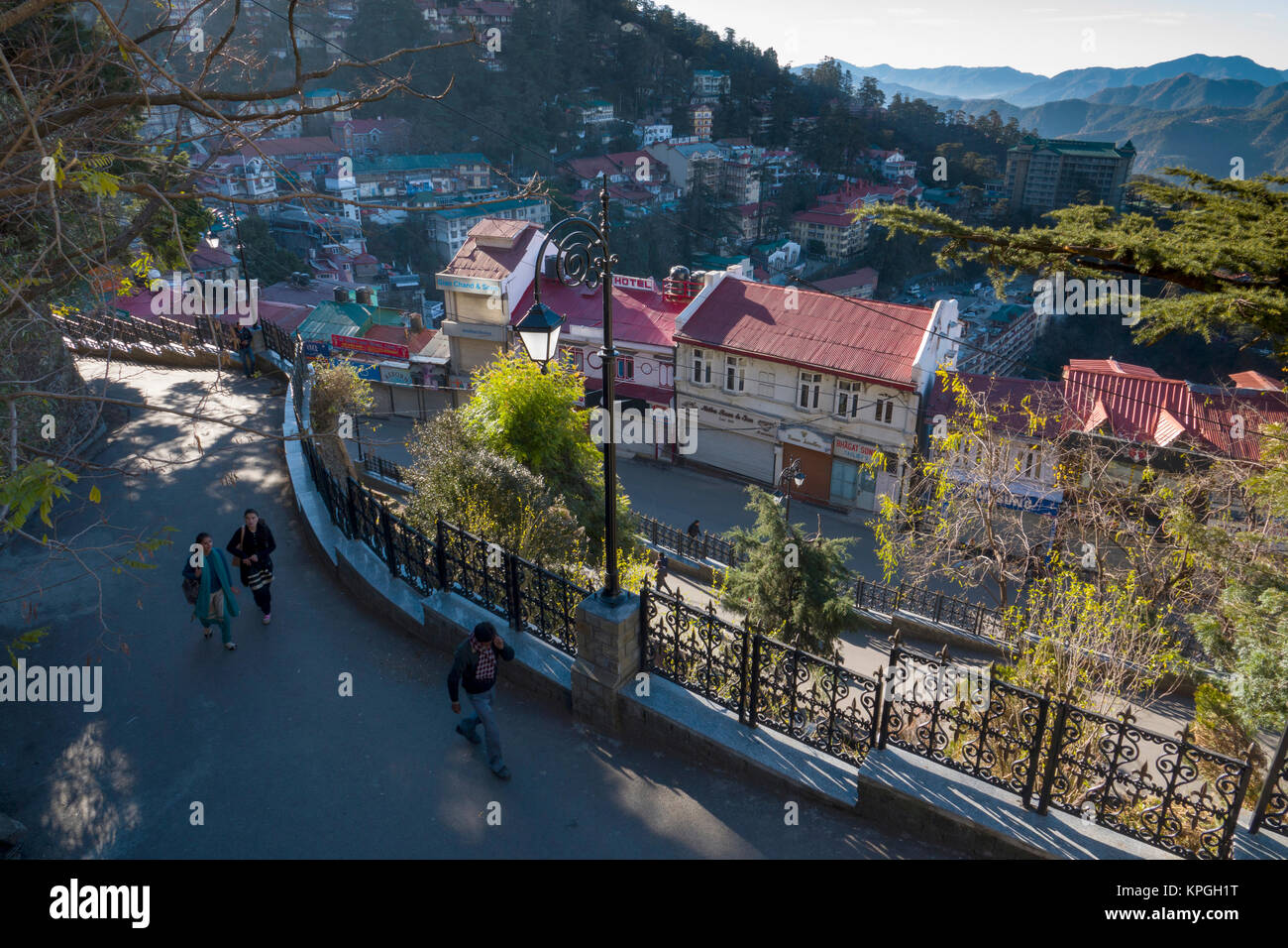 View of the mall in Shimla in Himachal Predesh, India - Stock Image