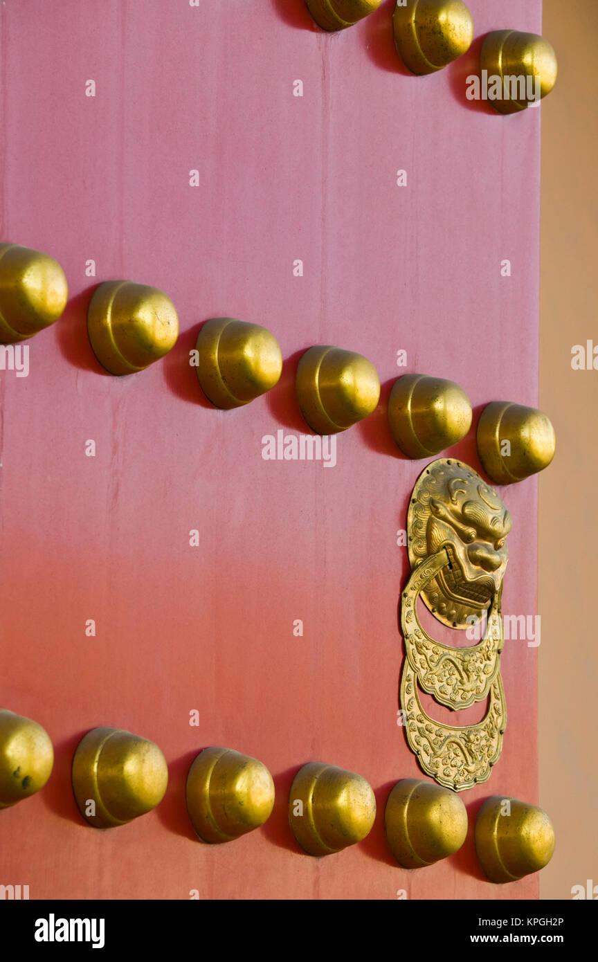 China, Beijing, The Forbidden City. Hall of Supreme Harmony-door detail. - Stock Image
