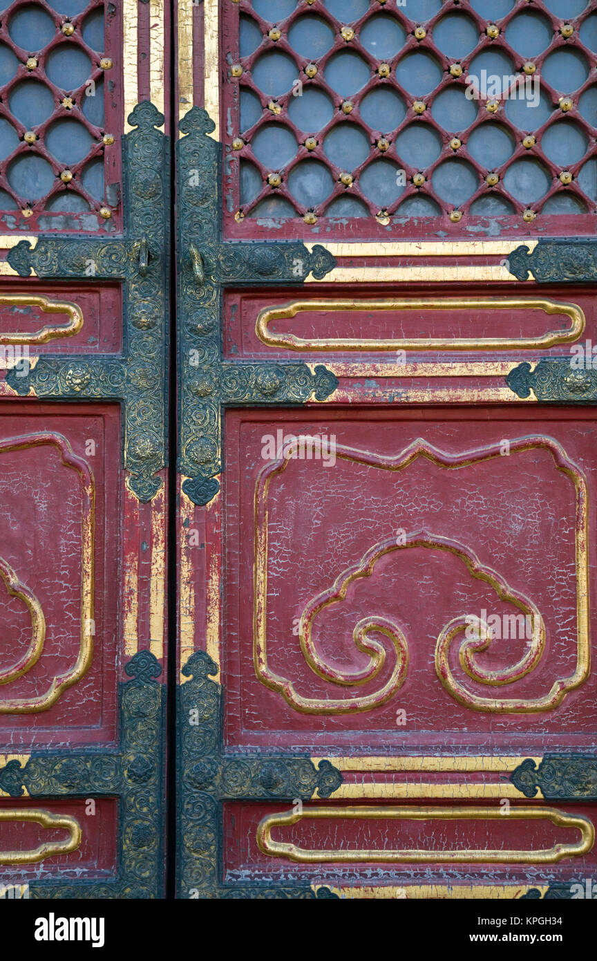 China, Beijing, The Forbidden City. Hall of Supreme Harmony-door detail. - Stock Image