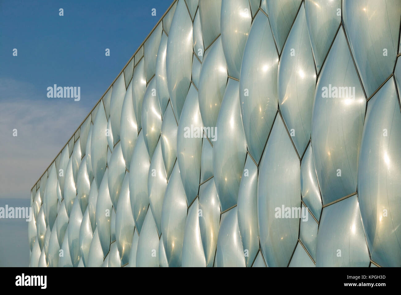 China, Beijing. National Aquatics Center Exterior, Swimming Venue for the 2008 Summer Olympics / Morning. - Stock Image
